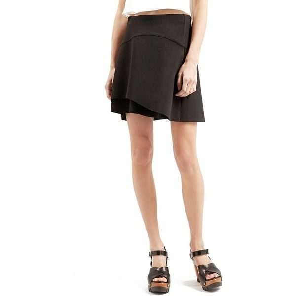 Topshop Curved Hem Skater Skirt (35.345 CLP) ❤ liked on Polyvore featuring skirts, black, topshop skirts, black skirt, topshop, black skater skirt and black circle skirt