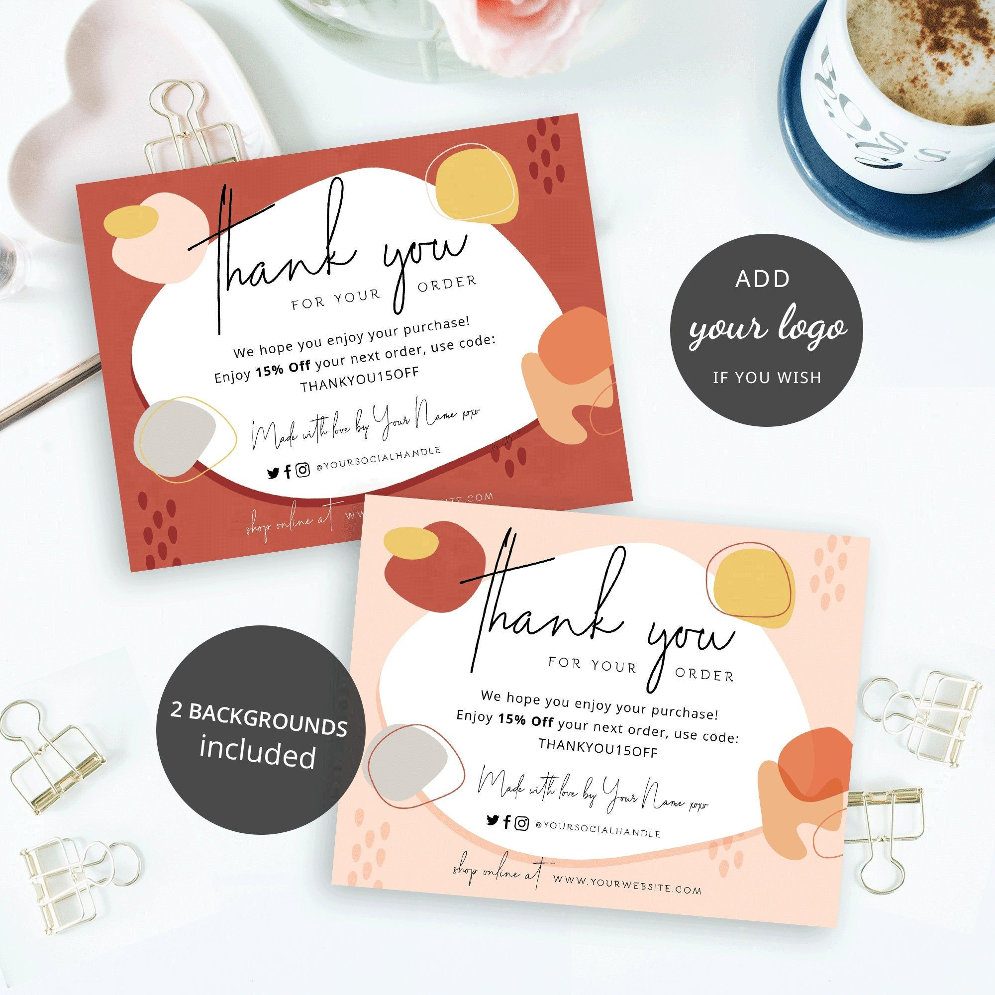 Fall Thank You for Order Card Template, Business Thank you