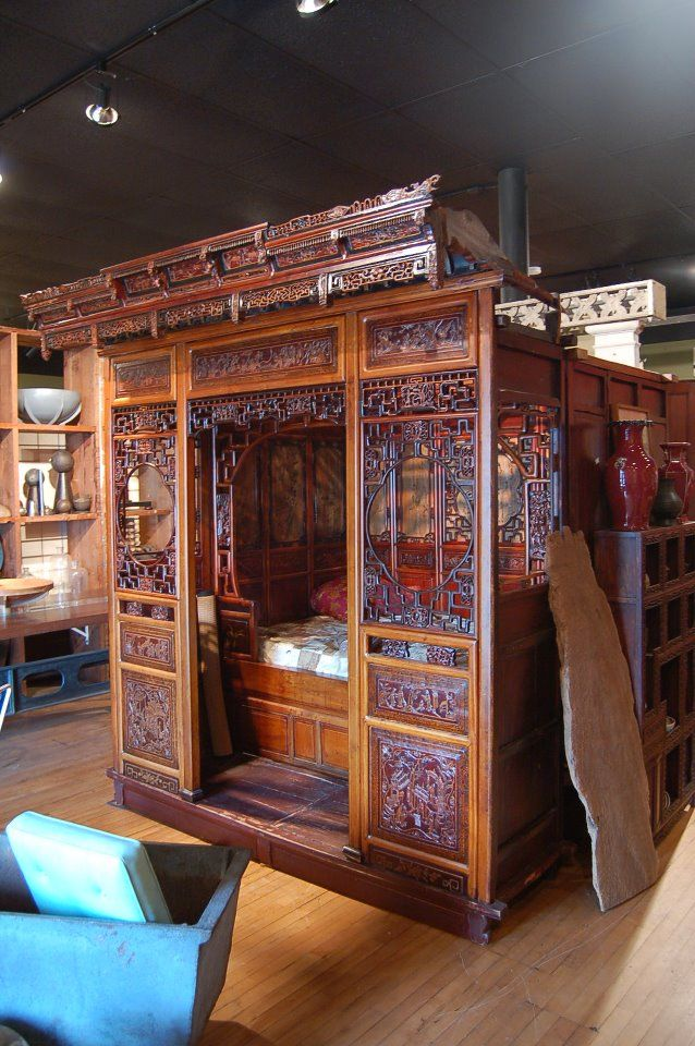 Antique Bed: 19th C. Heavily Carved Chinese Hardwood Bed W/painted