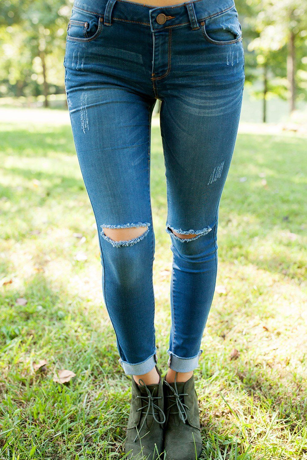 The Carrie Destroyed Skinny Jeans  Bottoms-4904