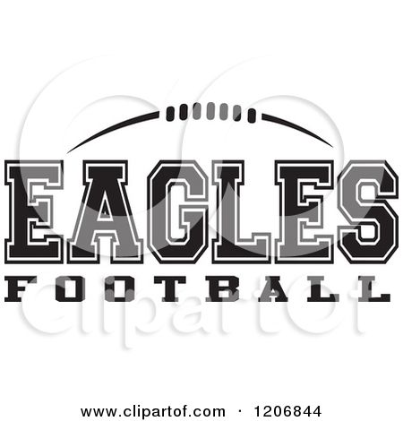 Clipart Of A Black And White American Football And Eagles