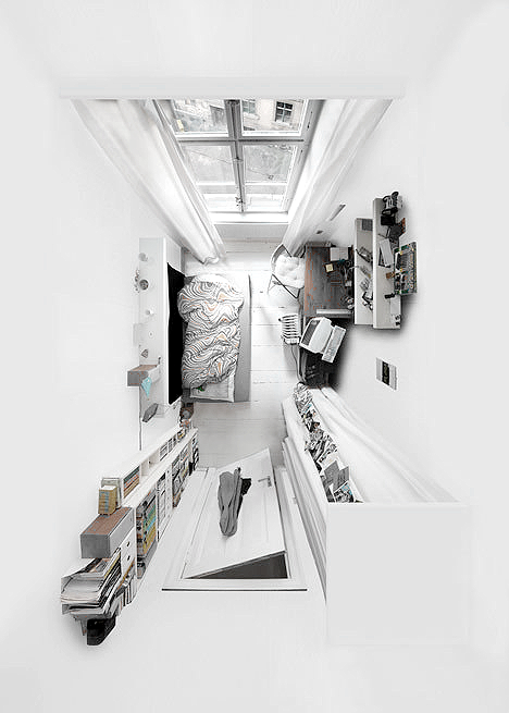 All White Bedroom View From Above Minimal Room Home Ilustracion