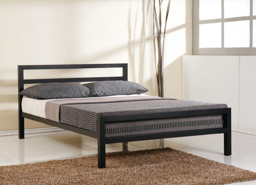 Modern Metal Bed Frame With Sprung Base Black Bed Frame White