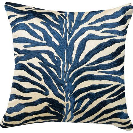"Safari Embroidered Satin Pillow in Blue | cotton satin cover, down fill | made in India | 18"" square | $114.00 retail"