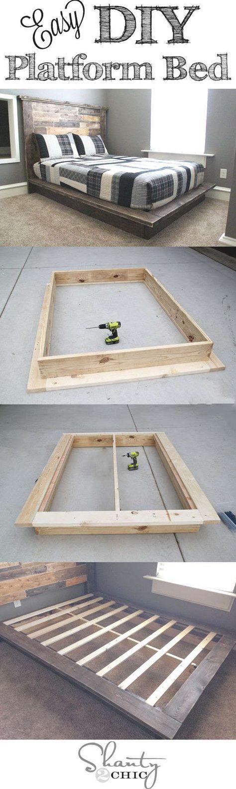 Fabriquer un lit plateforme en bois. Platform bed diy | bibliothèque ...