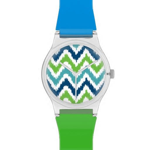 Blue Green Aqua Ikat Zigzag Stripes Pattern Wristwatch