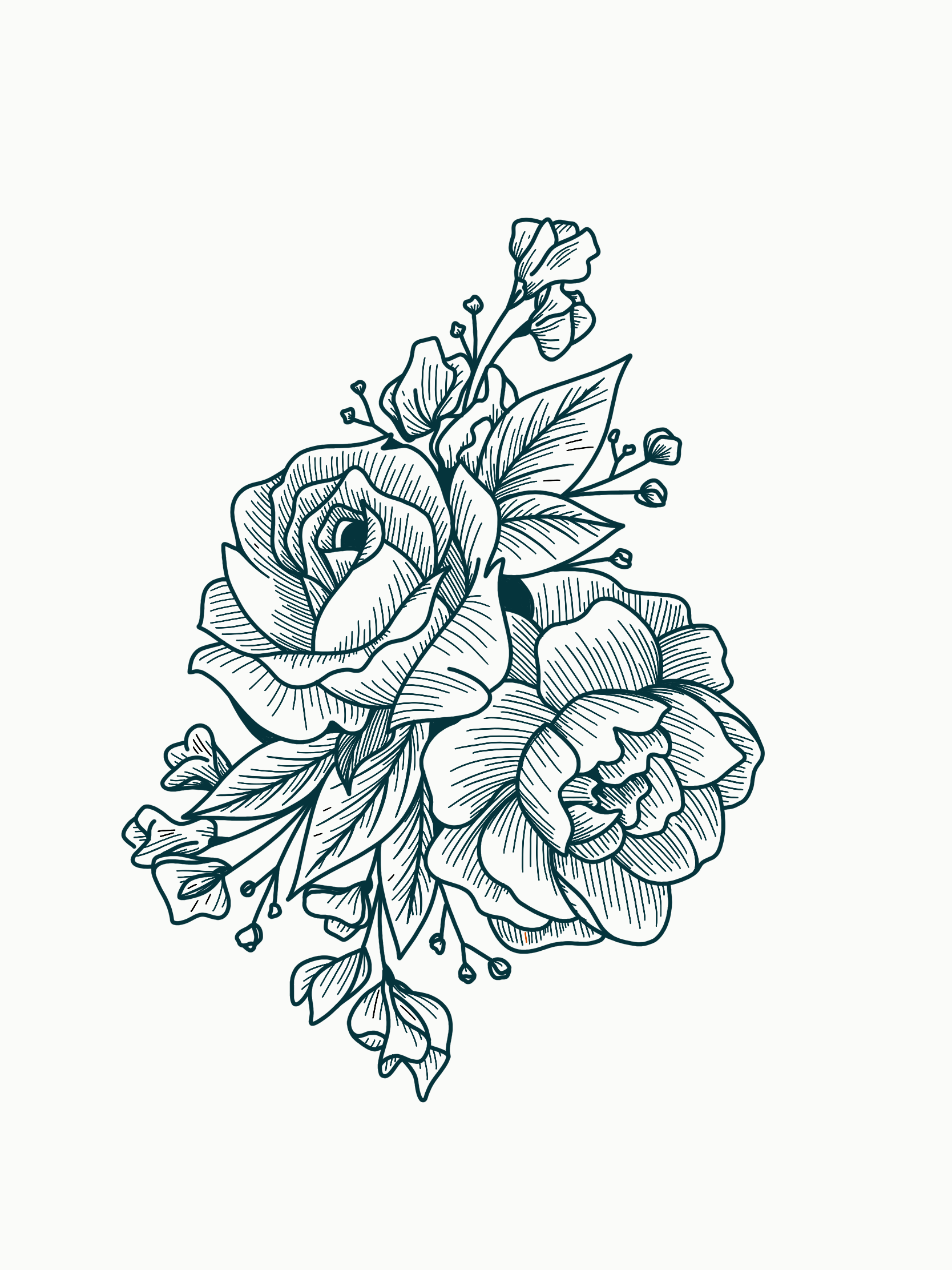 Tattoo Design Inspiration Line Work Florals Rose Peony Baby S Breath And Sweetpea Kylie Stinson Art With Images Rose Tattoo Design Line Art Tattoos Rose Line Art