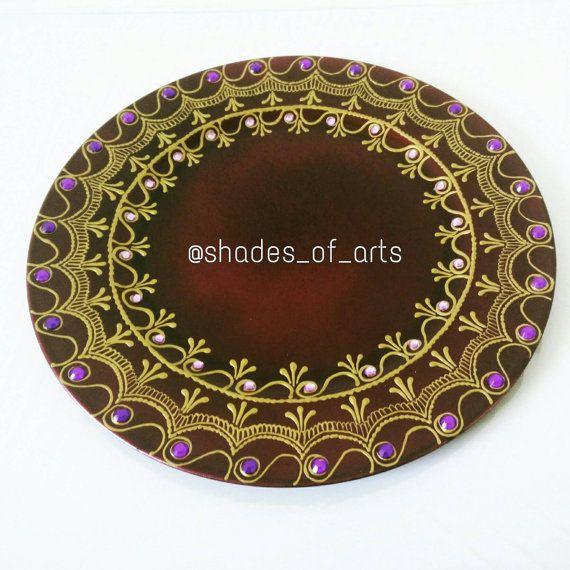 Dark Purple Henna Charger Plate / Wedding decor / by ShadesOfArts & Dark Purple Henna Charger Plate / Wedding decor / Puja Thali ...