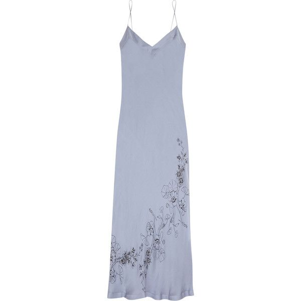 Carine GilsonPrinted Silk-satin Nightdress ($130) ❤ liked on Polyvore featuring intimates, sleepwear, nightgowns, dresses, carine gilson, nightwear and lavender