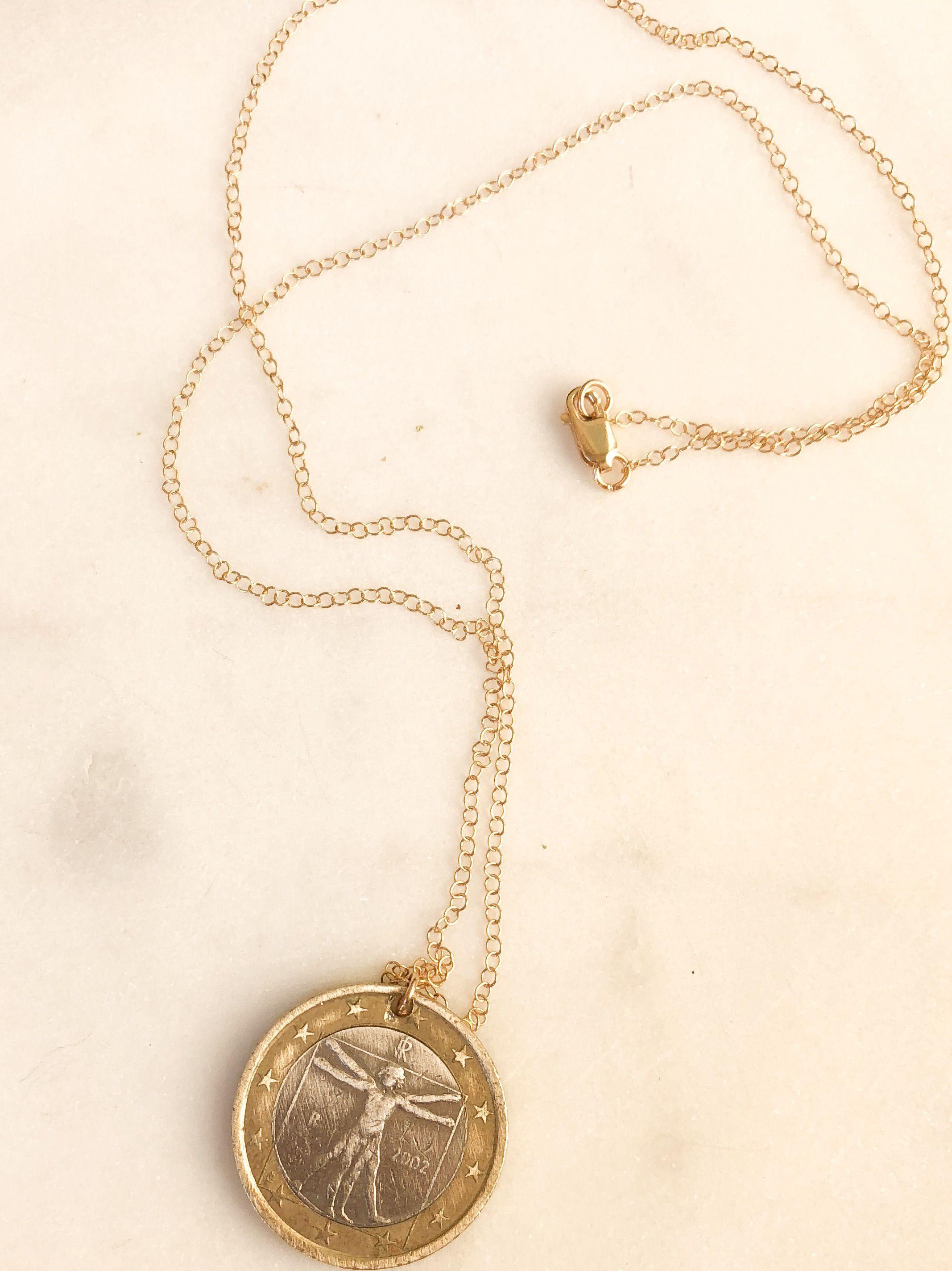a5ca8edb4da87 coin pendant, vintage coin, necklace, silver, gold, silver and gold ...