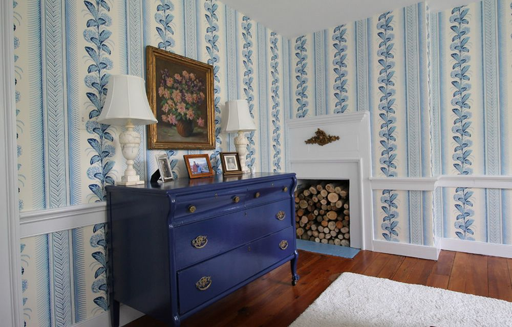 Quadrille Climbing Hydrangea Wallpaper French Blue On Almost White