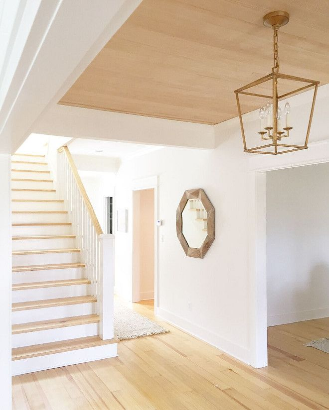 Foyer Shiplap Tray Ceiling Foyer Shiplap Tray Ceiling My Favorite Part Of This Space Is The Wood Plan Wood Plank Ceiling Plank Ceiling Bedroom Light Fixtures