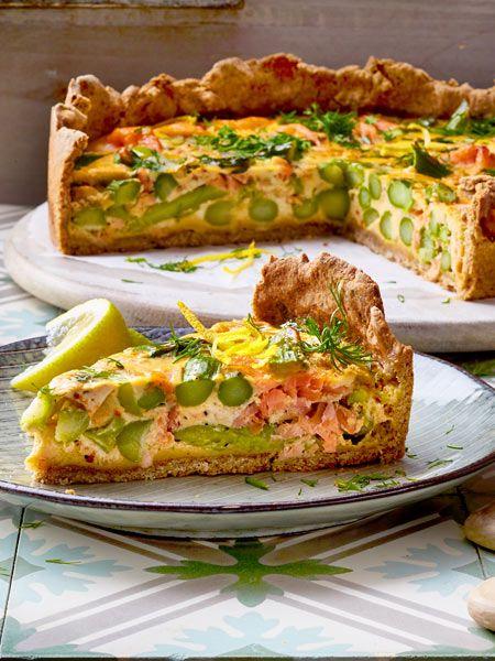 Frühlingsquiche mit grünem Spargel und Räucherlachs #healthyshrimprecipes