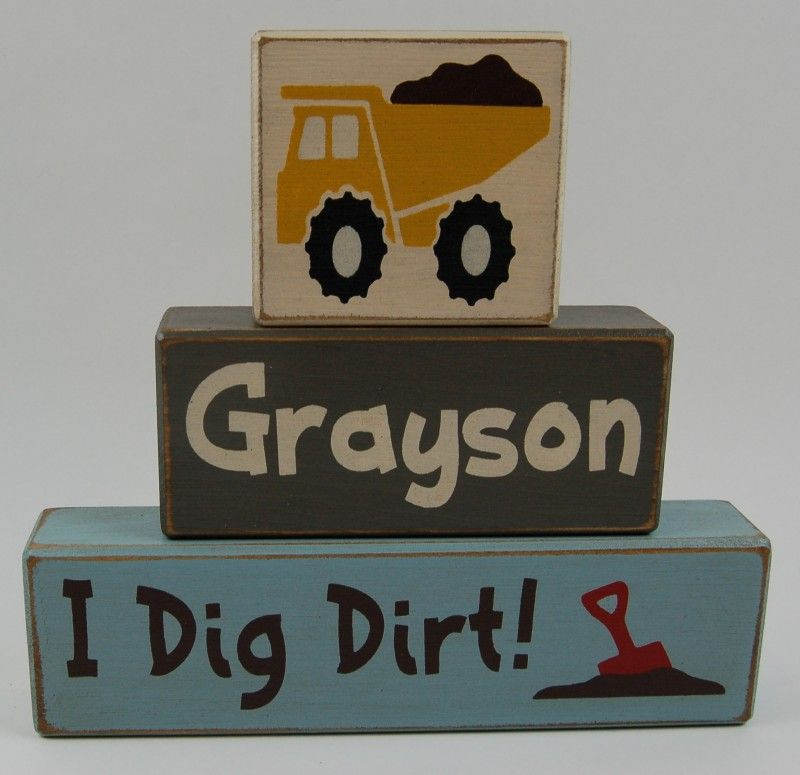 Personalized I Dig Dirt Construction custom personalized name big boy room primitive blocks country blocks construction birthday decoration