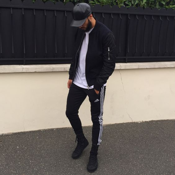 adidas shoes all black male outfits 2017 primavera 631357