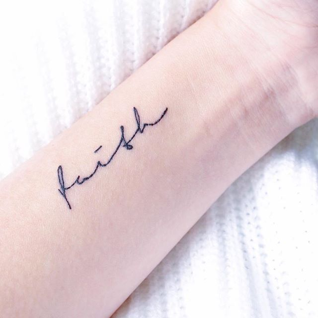 b1f239495 small faith tattoo | Ink | Wrist tattoos girls, Cursive tattoos ...