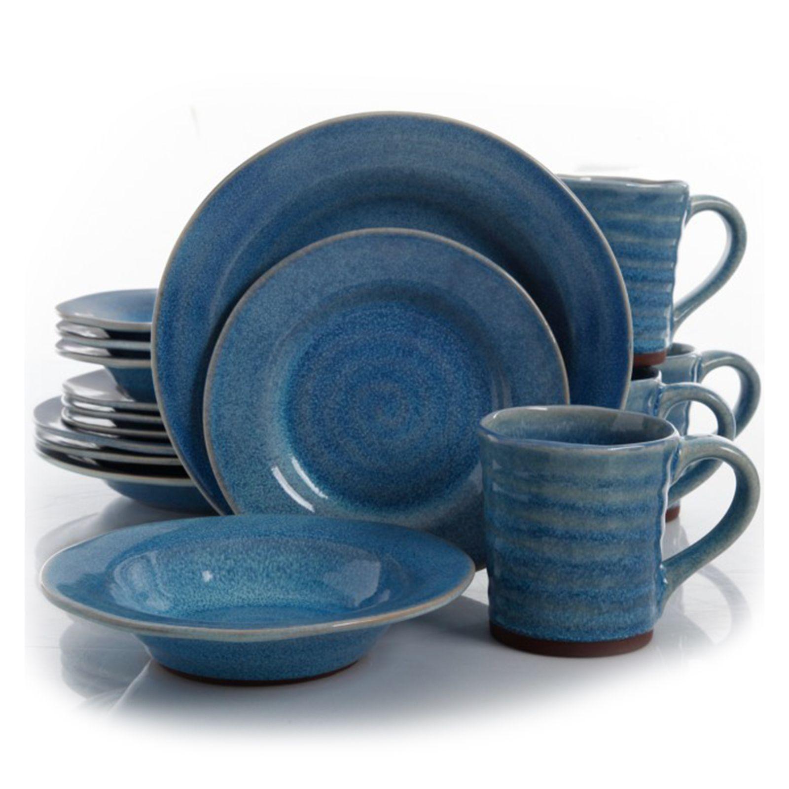 Gibson Mariani 16 Piece Stoneware Dinnerware Set in Blue  sc 1 st  Pinterest & Gibson Mariani 16 Piece Stoneware Dinnerware Set in Blue | Products ...