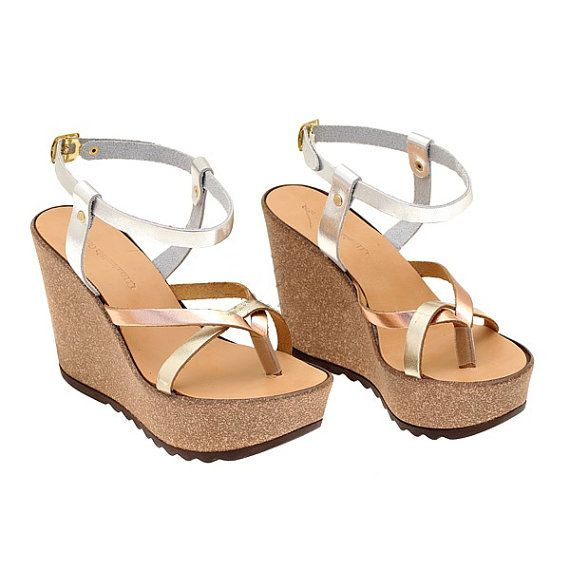 Gold Platforms Leather sandals-Bridal sandals flip by marizasShop
