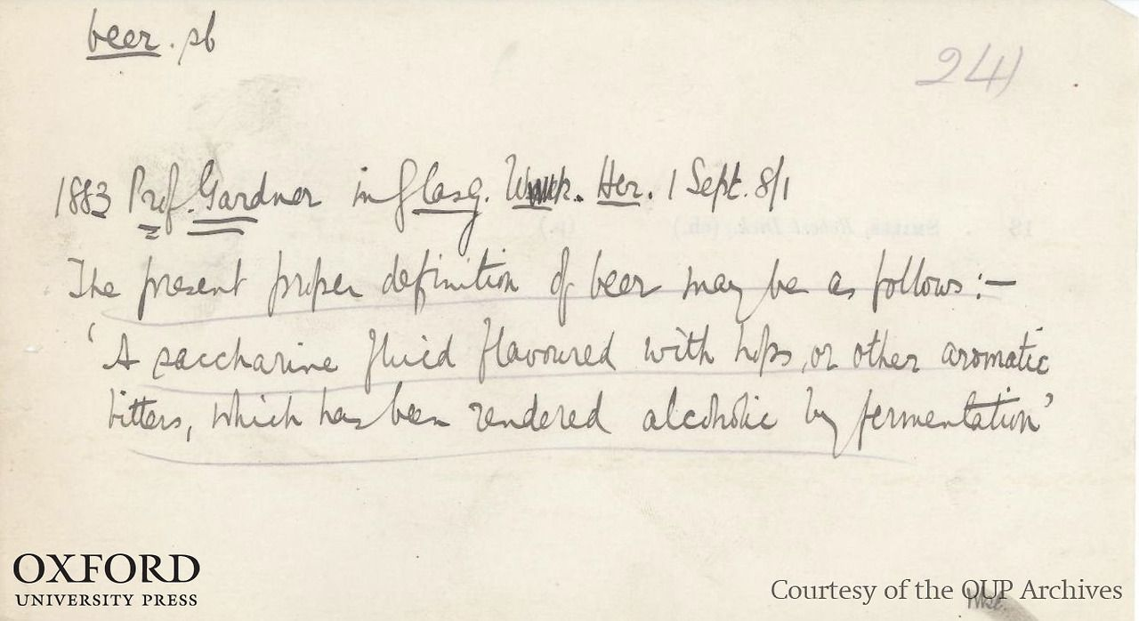"A slip for the word ""beer"" sent in by a volunteer reader for the first edition of the Oxford English Dictionary, c.1860s-80s. An important word to document, we think. Courtesy of OUP Archives - please always credit original. #beer #dictionary #words"