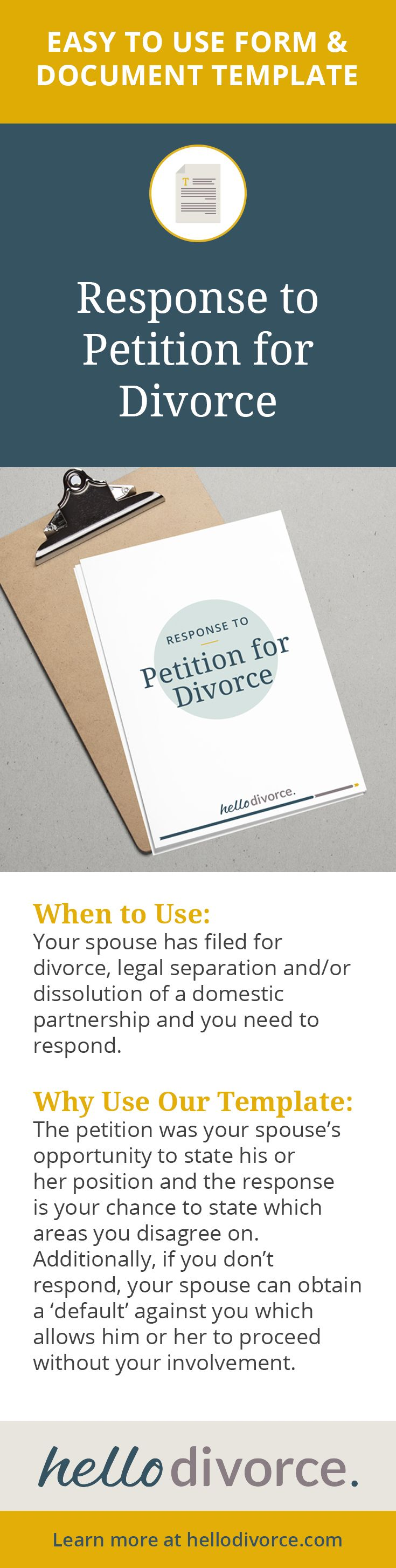 If your spouse files the initial petition for divorce it