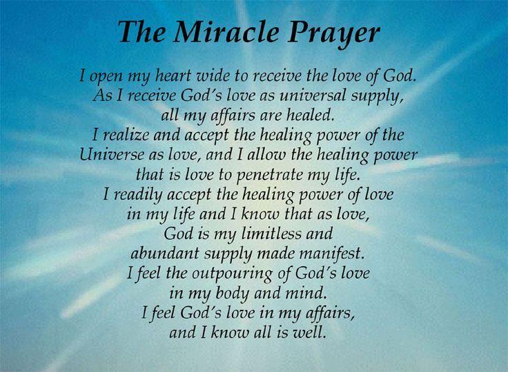 Miracle Prayer:   Miracle prayer, Prayers for healing ...