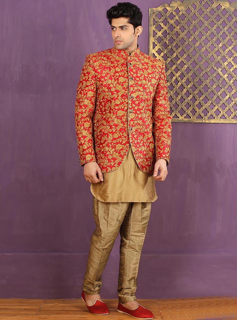 Red jacquard indo western sherwani readymade kurti