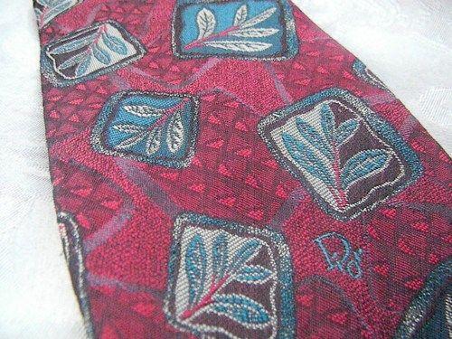 Vintage Christian Dior Moneierur Tie Timeless Red Block Leaf Print | RosesHeirlooms - Accessories on ArtFire