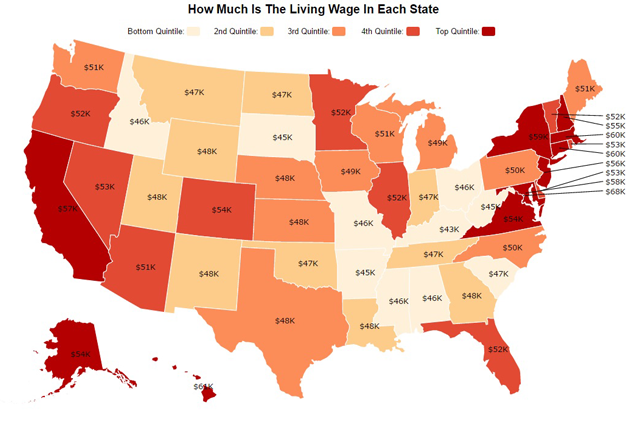 The Minimum Income It Takes to Live in Each State