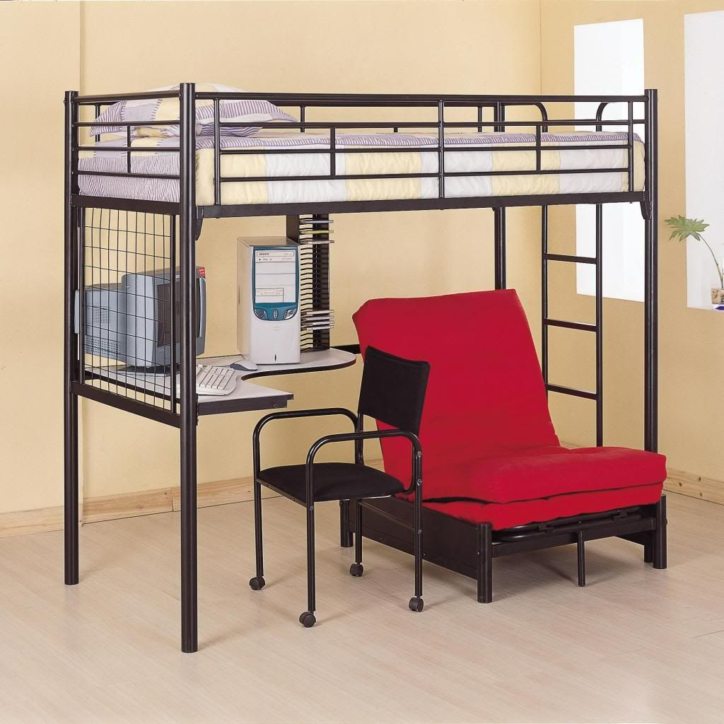 Bedroom Bunks Twin Workstation Loft Bed Item Adult Loft Beds For The With  Cream Floor And Black Bed Desk,a Red Sofa,cream Wall Modern Space Saving  Adult ...
