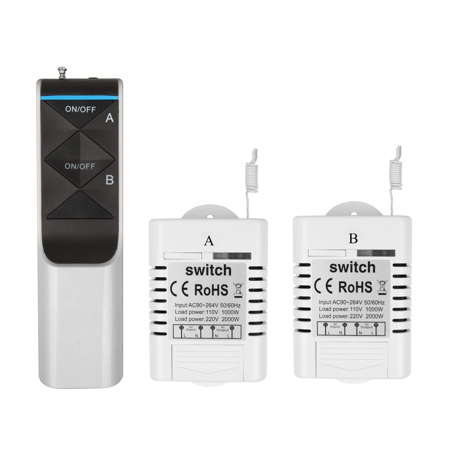 heneng wireless light switch remote controlled no wiring no battery outdoor 1300 ft indoors 230 ft [ 1600 x 1600 Pixel ]