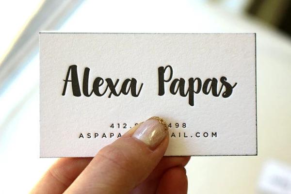 alexa  letterpress business cards  letterpress business