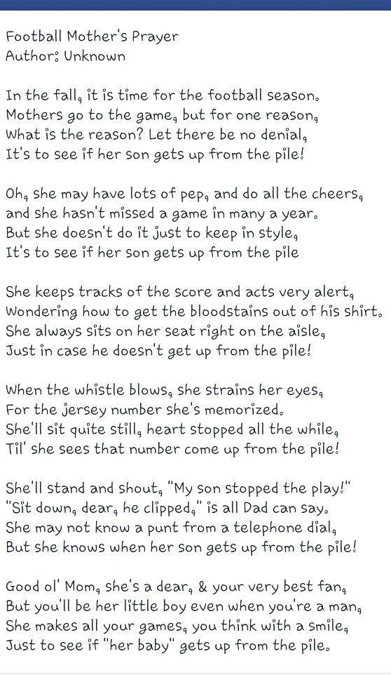 Football mothers prayer | Football moms prayer, Football mom ...