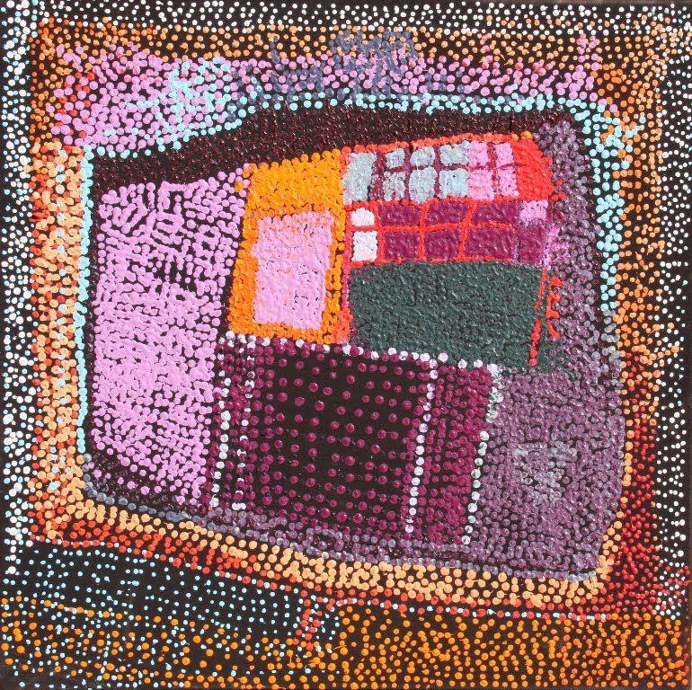 Tommy Mitchell, Wakalpuka, 2011, acrylic on canvas, 76.2 cm x 76.2 cm. Warakurna Artists; 2011 Darwin Aboriginal Art Fair.inspiratie voor doorregen lapjes