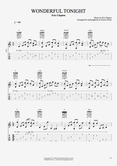 Easy Guitar Chords Copyright All Rights Reserved International