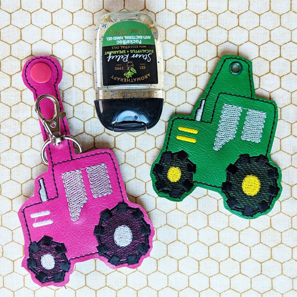Tractor Hand Sanitizer Holder Key Fob Snap Tab March 2019