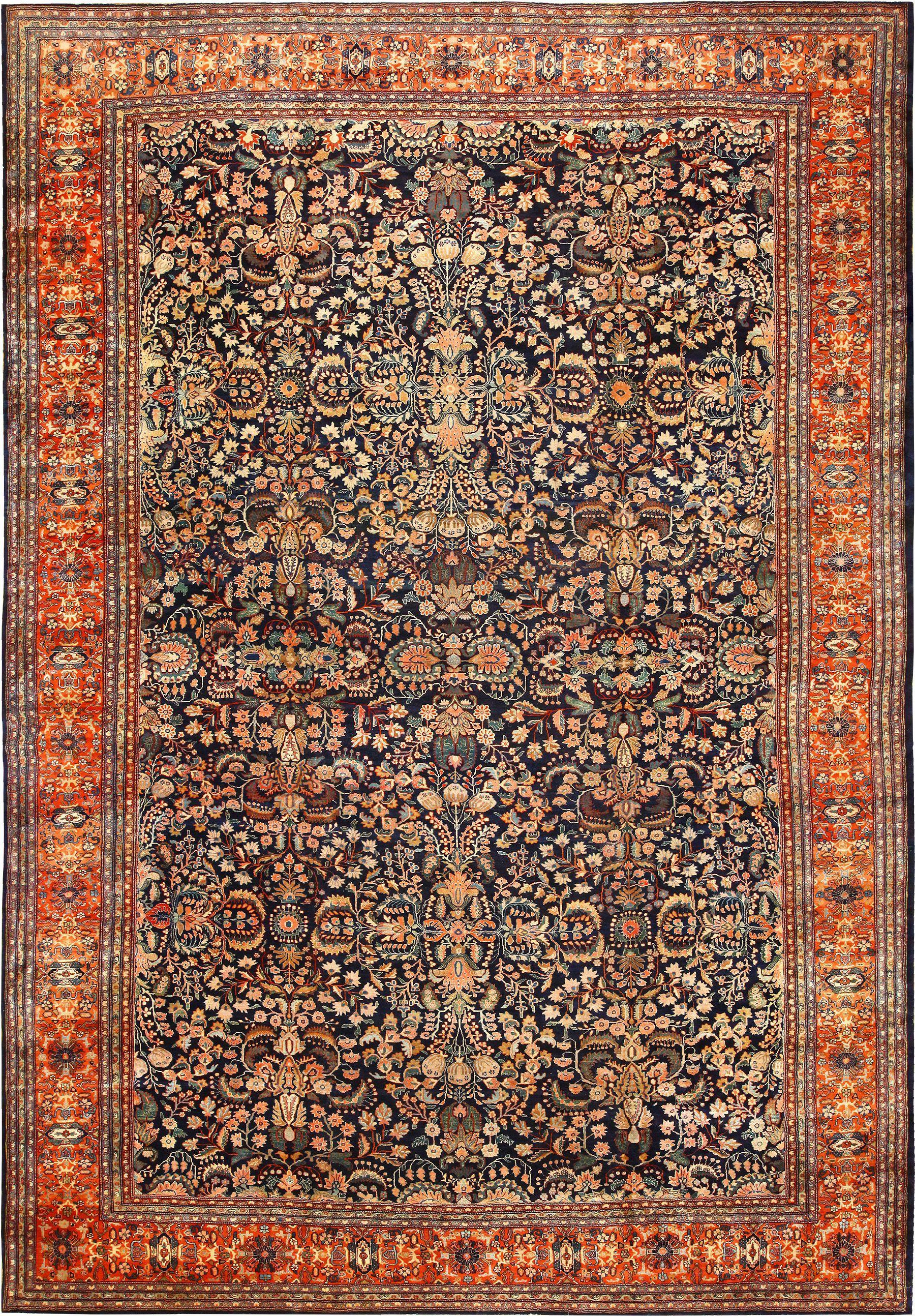 Blue Background Persian Sarouk Farahan Rug 49154 By Nazmiyal Rugs Antique Persian Rug Antiques
