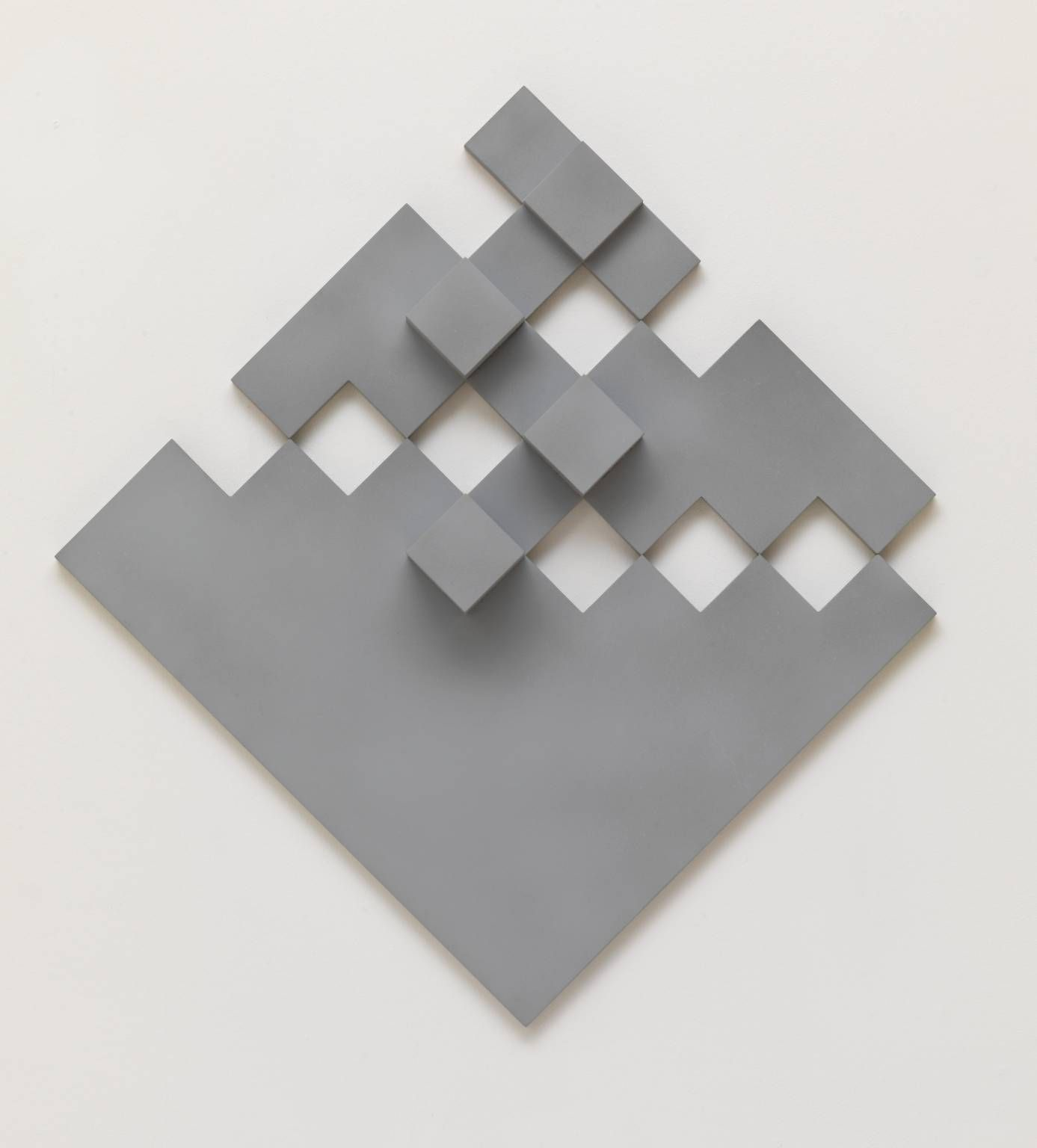 """Peter Lowe (b 1938) ~  """"Diagonal Grey Relief"""", 1974. Wood and paint (50 x 50 x 8 cm)."""