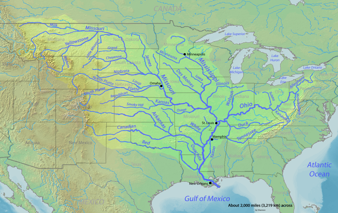 Mississippi River The Watershed Of The Mississippi River Map