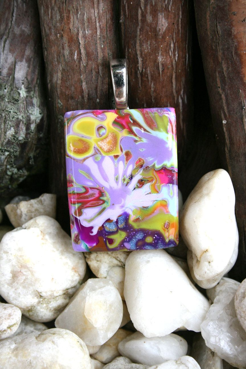 Polymer Clay Pendant - Rainbow in the Sky.