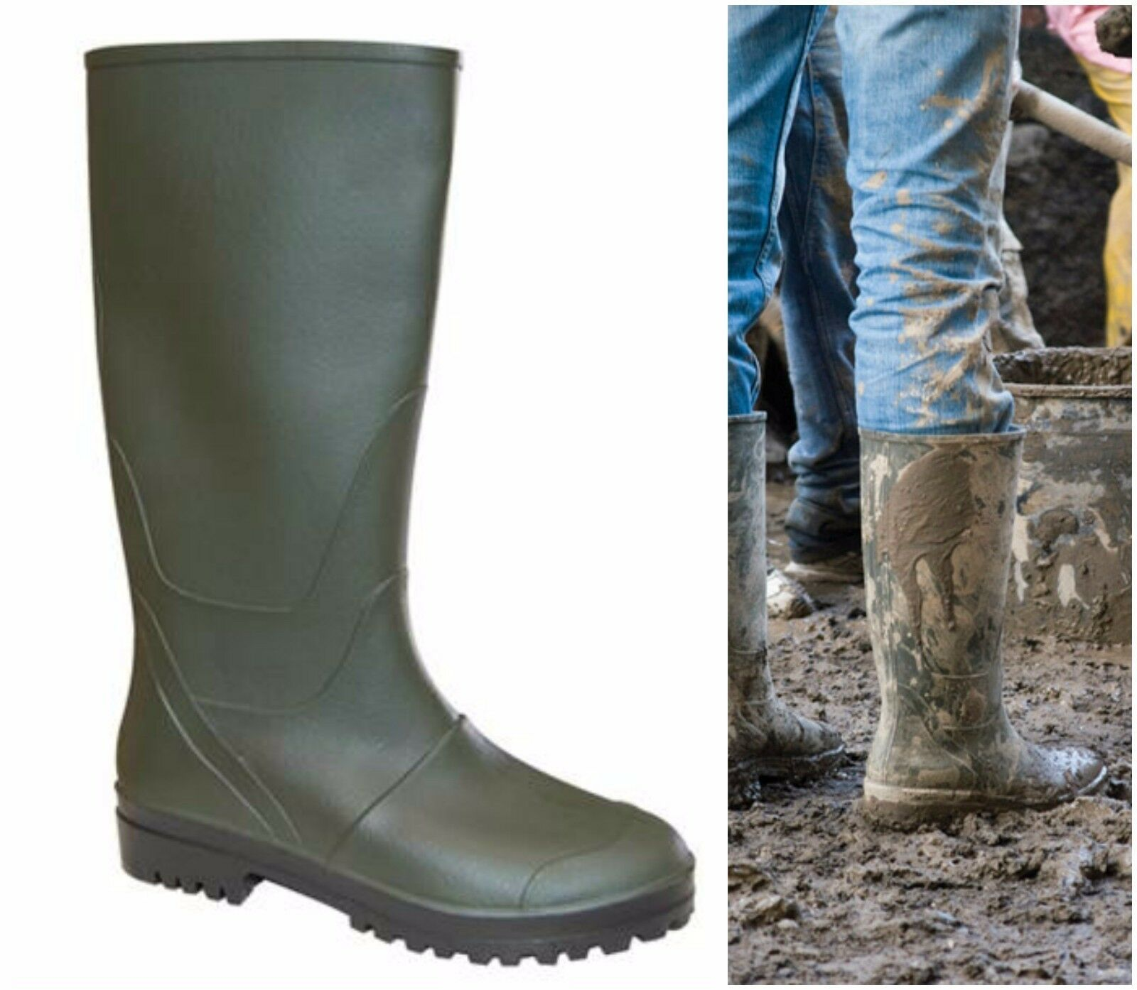 super speciali vendita a buon mercato nel Regno Unito regno unito Stivale uomo in pvc gomma stivali al ginocchio carrarmato caccia ...