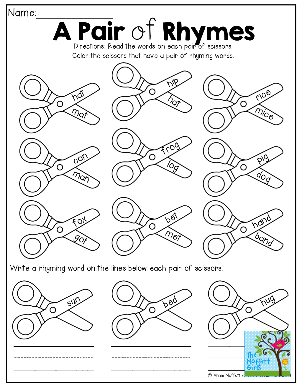 worksheet Words That Rhyme With Work a pair of rhymes color the scissors that have words rhyme tons of