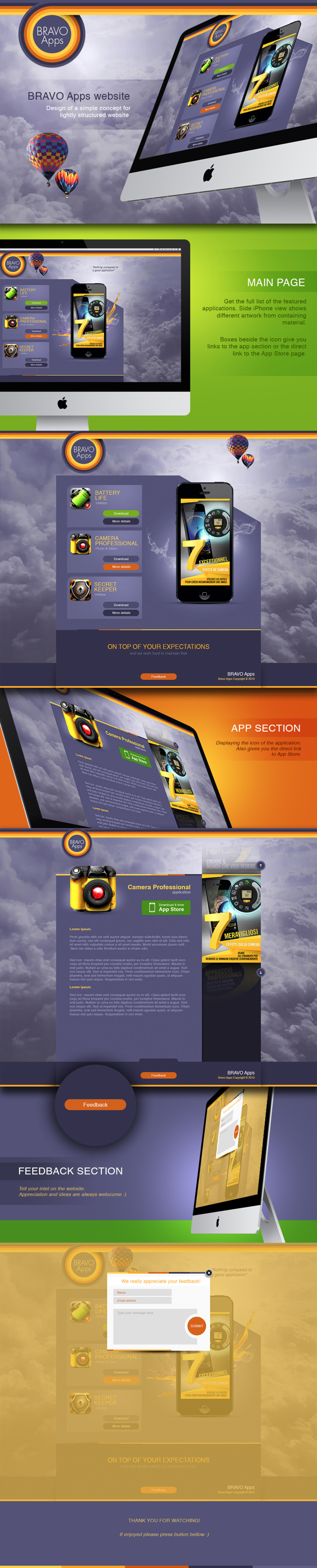 Bravo App website by Eugene Zolotco, via Behance (With