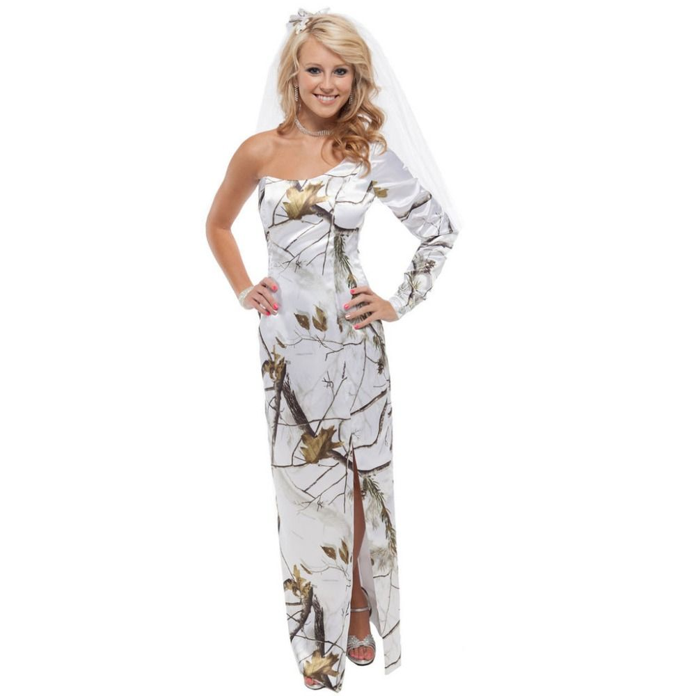 Wedding dresses camo  Click to Buy ucuc strapless printing realtree one sleeve snow white