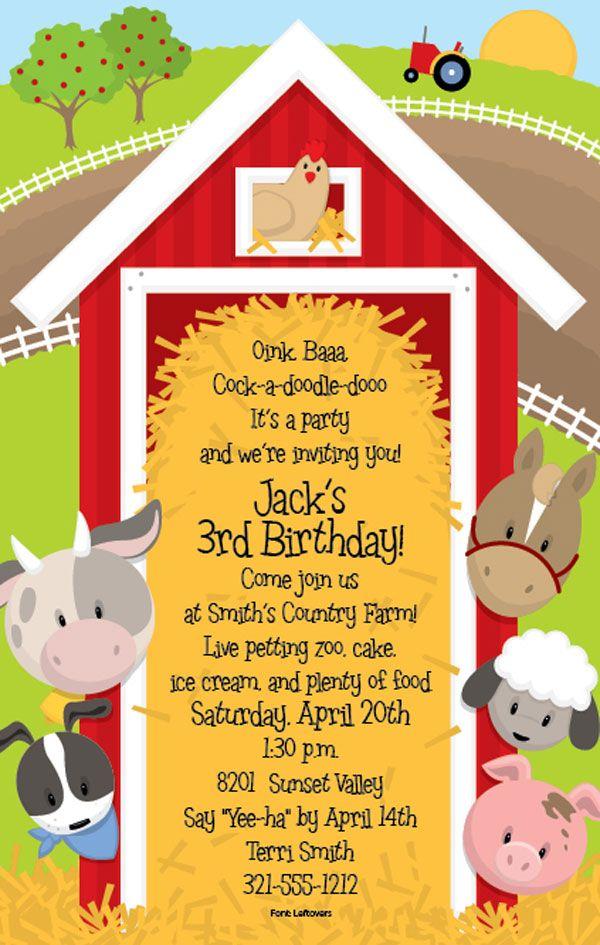 Around The Barn Party Invite Jpg 600 945 Farm Theme Birthday Farm Themed Birthday Party Farm Party Invitations