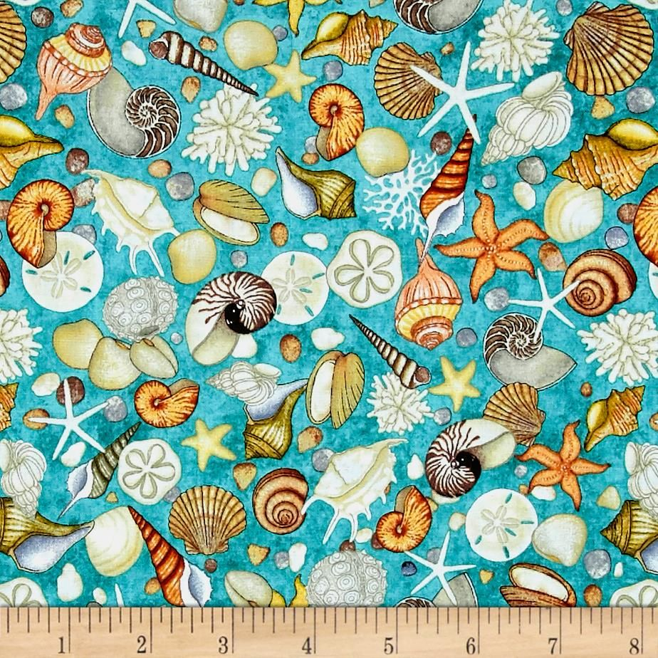 Ocean Oasis Shells Light Lagoon Quilting Treasures