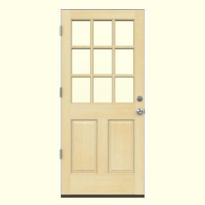 Jeld Wen 32 In X 80 In 9 Lite Unfinished Wood Prehung Right Hand Outswing Back Door W Primed Rot Resistant Jamb O10805 The Home Depot Solid Wood Doors Entry Doors Front Door