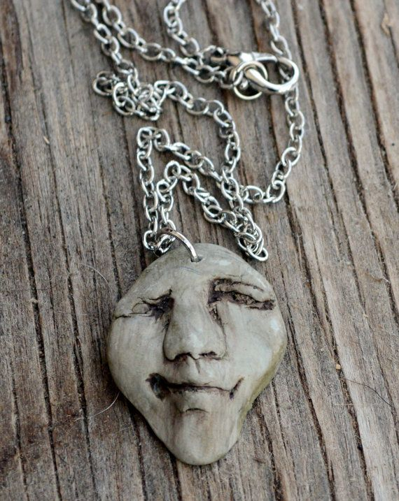 clay face necklace by AmberDawnJewelry on Etsy   Faith-Daily.com