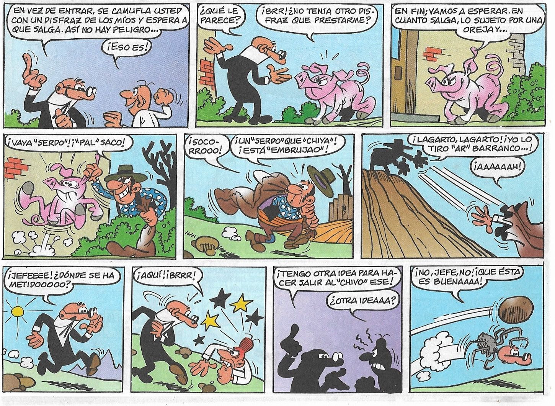 Viñetas de la historieta «Robo en la Joyería» de Francisco Ibáñez. Fue publicada el 7 de Octubre de 1968. Entre otras recopilaciones fue recogida en el Super-Humor nº 24 (Ediciones B, 1ª edición 1995, 7ª 2006).