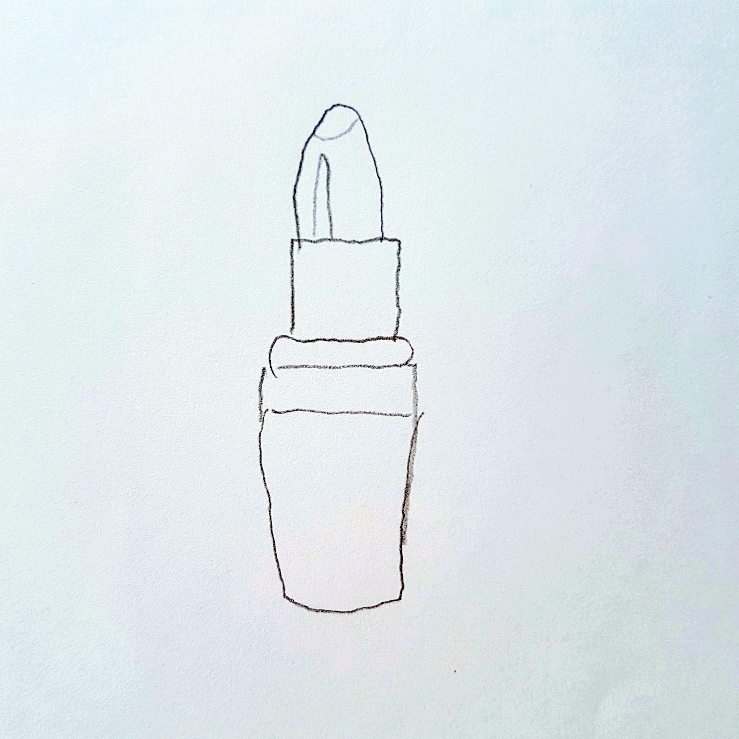 Anleitung zum Zeichnen eines Lippenstift