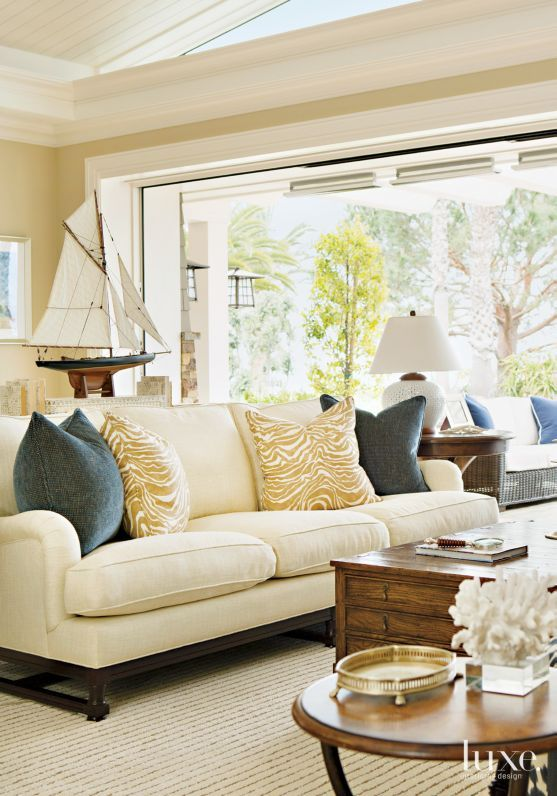 Interior Designer Barclay Butera Paired A Sofa From His Line Home With Chaddock Coffee Table In The Great Room Of Laguna Beach House